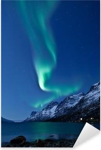 Naklejka Pixerstick Aurora Borealis w Norwegii, odbicie