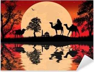Naklejka Pixerstick Beduin wielbłąda karawana