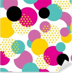 Naklejka Pixerstick Bez szwu geometryczny wzór w stylu retro lat 80. wzór pop-artu koło na białym tle.