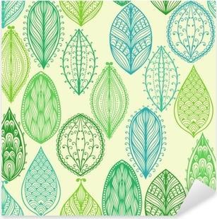 Naklejka Pixerstick Bez szwu wyciągnąć rękę rocznika wzór z zielonymi liśćmi ozdobnymi
