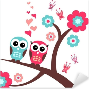 Naklejka Pixerstick Całkiem romantyczną kartkę z sowy