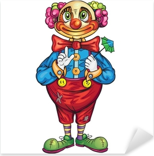 Naklejka Pixerstick Cartoon Zabawna Klaun na białym tle