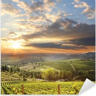Naklejka Pixerstick Chianti krajobraz winnicy w Toskanii we Włoszech