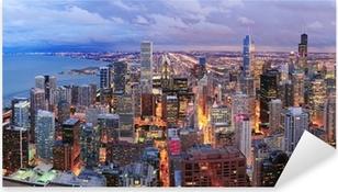 Naklejka Pixerstick Chicago skyline panorama z lotu ptaka
