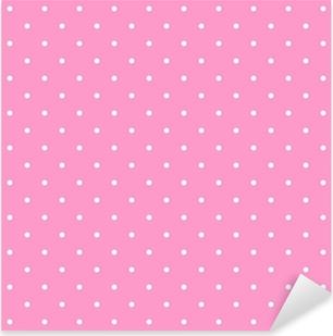Naklejka Pixerstick Dachówka wzór wektor z białymi kropki na różowym tle