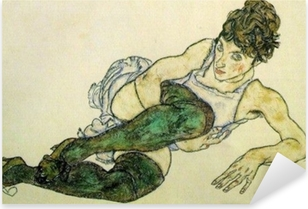 Naklejka Pixerstick Egon Schiele - Pochylająca się kobieta w zielonych pończochach