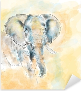 Naklejka Pixerstick Elephant malarstwo imitacja akwarela