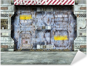 Naklejka Pixerstick Futurystyczny drzwi spaceship