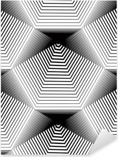 Naklejka Pixerstick Geometryczny wzór bez szwu monochromatyczny stripy, czarne i białe ve