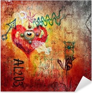 Naklejka Pixerstick Graffiti z czerwonym sercem