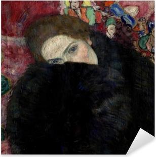 Naklejka Pixerstick Gustav Klimt - Kobieta w kapeluszu i boa z piór