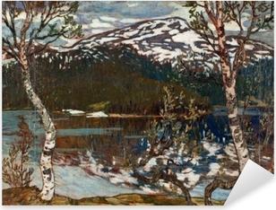 Naklejka Pixerstick Helmer Osslund - Wiosenny dzień nad jezioren Rensjön w pobliżu Åre