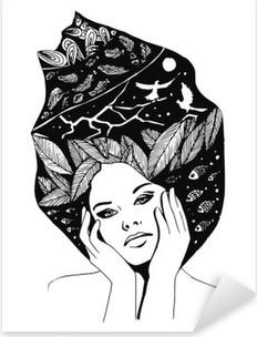 Naklejka Pixerstick __illustration, graficzny portret czarno-białe kobiety