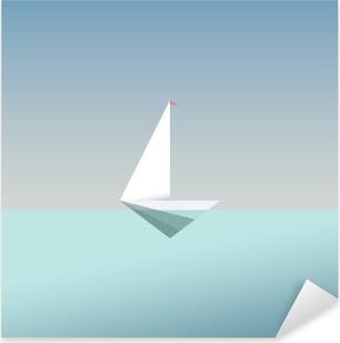 Naklejka Pixerstick Jacht symbol ikony w nowoczesnym stylu niskiej poli. Letnie wakacje lub podróż wakacje tła. Metafora działalności na rzecz wolności i sukcesu.
