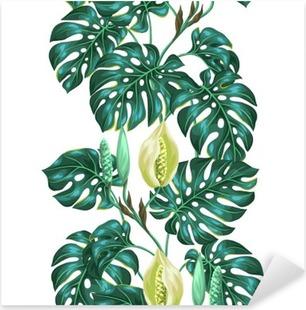Naklejka Pixerstick Jednolite wzór z liści Monstera. Obraz dekoracyjne tropikalnych liści i kwiatów. Tło wykonane bez wycinek maska. Łatwy w obsłudze dla tło, tekstylia, papier pakowy