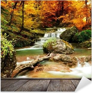 Naklejka Pixerstick Jesienią creek lasy z żółtym drzew