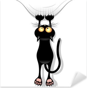 Naklejka Pixerstick Kurtyna-drapanie kota kot kreskówka śmieszne namiot zgrywania