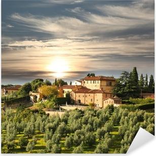Naklejka Pixerstick Luksusowa willa w Toskanii, we Włoszech sławny winnicy