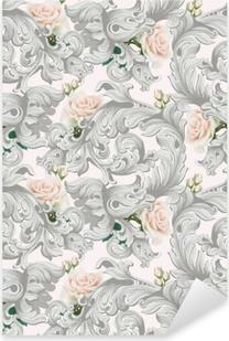 Naklejka Pixerstick Luksusowy rokokowy ornament z różami kwitnie tło wektor. delikatne, bogate imperialne elementy intricate. wiktoriański styl królewski