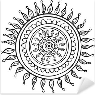 Naklejka Pixerstick Mandala wzór czarno-biały izolowane w wektorze