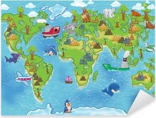 Naklejka Pixerstick Mapa świata dla dzieci