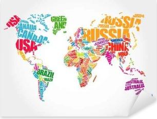 Naklejka Pixerstick Mapa świata w Typografii Word chmura koncepcji, nazwy krajów