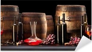 Naklejka Pixerstick Martwa natura z czerwonego wina i stare beczki