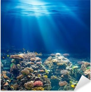 Naklejka Pixerstick Morskiego lub oceanu podwodna rafa koralowa z rurką lub akwalungiem backgrou