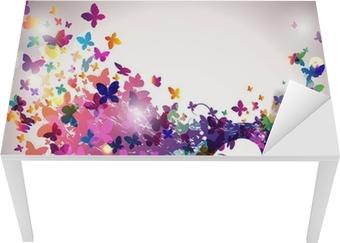 Naklejka na biurko i stół Kobieta z motylami we włosach.