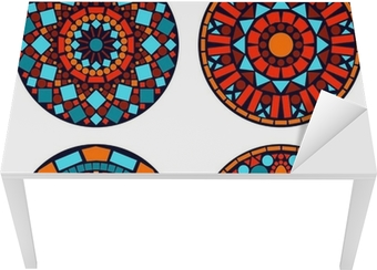 3c05f5766a1448 Plakat Kolorowe mandale ustawione koło kwiatów w kolorze niebieskim czerwony  i pomarańczowy • Pixers® - Żyjemy by zmieniać