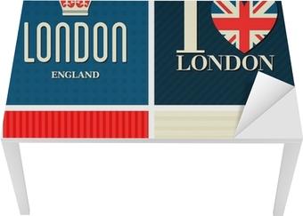 Naklejka na biurko i stół London kolekcji kart