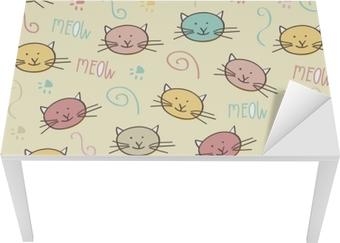 Naklejka na biurko i stół Szwu z doodle kotów