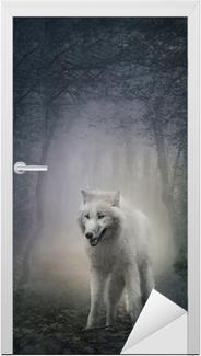 Naklejka na drzwi Biały wilk