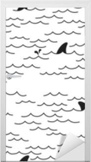 Naklejka na drzwi Rekin delfin szwu wektor wieloryba morze ocean doodle na białym tle tapeta tło białe