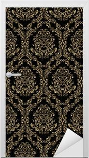 Naklejka na drzwi Seamless retro tapety w stylu wiktoriańskim: złoto na czarno.