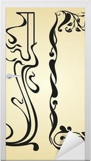 Naklejka na drzwi Secesyjny wzór i elementy ramy