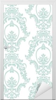 Naklejka na drzwi Wektor wzór adamaszku ornament w stylu imperialnym. ozdobny kwiatowy element na tkaniny, tekstylia, projektowanie, zaproszenia ślubne, karty z pozdrowieniami, tapety. opalowy kolor niebieski