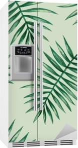 Naklejka na lodówkę Akwarela tropikalnych liści palmowych szwu wzorca. ilustracji wektorowych.