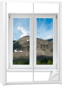 Naklejka na szafę Biały plastik podwójne drzwi okno z widokiem na spokojny krajobraz