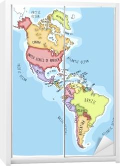 Plakat Recznie Rysowane Mapy Wektorowe Z Americas Kolorowe