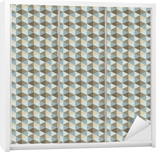 Naklejka na Szafę Streszczenie retro geometryczny wzór