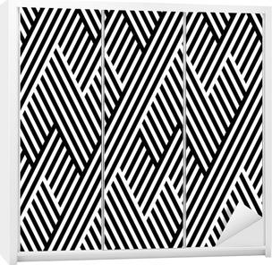 a2607a0884e86c Naklejka na szafę Wektor bez szwu tekstury. Geometryczne abstrakcyjne tło.  Monochrome powtarzając wzór łamanych