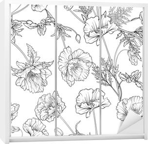 Obraz Na Płótnie Wzór Z Kwiatami Maku W Botanicznym Stylu Vintage