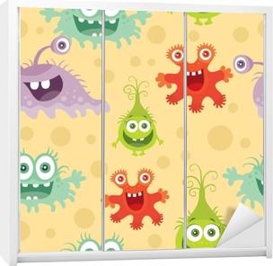 Naklejka na szafę Zestaw bez szwu wzór z dobrych i złych bakterii