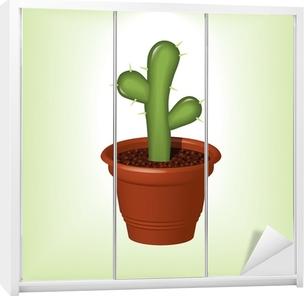 Zielony Kaktus W Doniczce Z Cierni