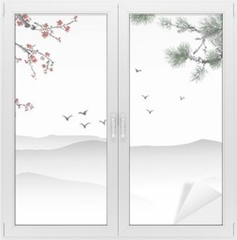 Naklejka na szybę i okno Chińskich malowanie