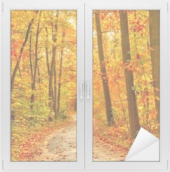 Naklejka na szybę i okno Droga w lesie jesienią