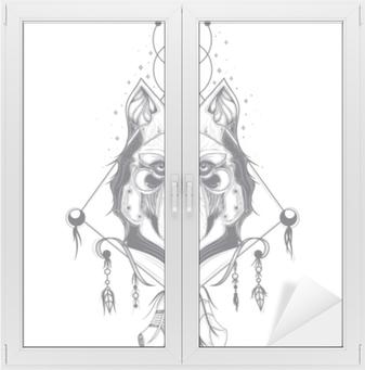 Obraz Na Płótnie Ilustracja Wektorowa Z Przodu Widok Głowy Wilka