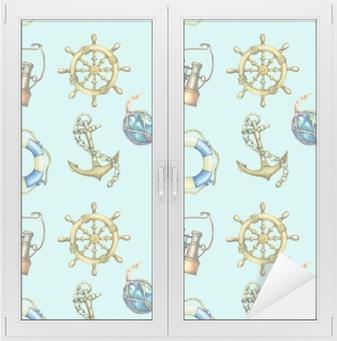 Naklejka na szybę i okno Wzór z elementami żeglarskie, na białym tle na pastelowe turkus tło. stara lornetka, koło ratunkowe, kierownica z antycznego żaglówka, kotwica statku. akwarela ręcznie rysowane malarstwo ilustracja.