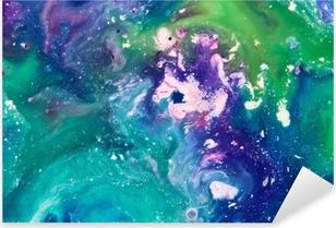 Naklejka Pixerstick Niebieskie i zielone tło farby